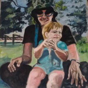 אימא ובן בטבע 90X80