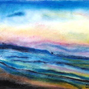 """בלהה לפיד, """"לא תמיד אותו הים"""", 35X50 צבעי פסטל על נייר, 054-5497073 yiglap@zahav.net.il"""