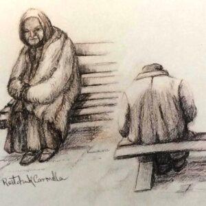 """כרמלה רייצ'וק, """"המתנה"""", 30X24 עפרונות על נייר, 050-5431974 singer4@gmail.com"""