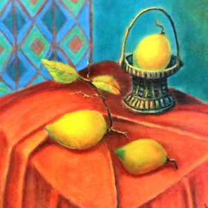 """כרמלה רייצ'וק, """"לימון צהוב"""", 32X42 שמן על בד, 050-5431974 singer4@gmail.com"""