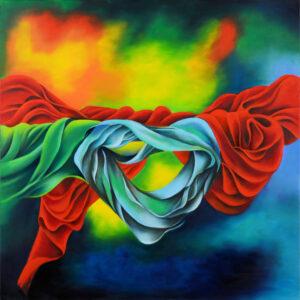 """סגי ארז, """"שבילים של אהבה"""", 92X92 שמן על בד, 058-6252766 sagi@sagiartstudio.com"""
