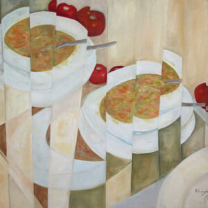 """בלה ליוש, """"הסעודה הראשונה"""", 100X100 שמן על בד, 052-2327072 b.layosh@gmail.com"""